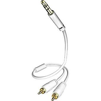 Inakustik RCA / Jack Audio/phono Cable [2x RCA plug (phono) - 1x Jack plug 3.5 mm] 3 m White gold plated connectors
