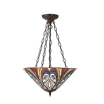 Interiör 1900 Hector 3 ljus Tiffany stil tak hänge med