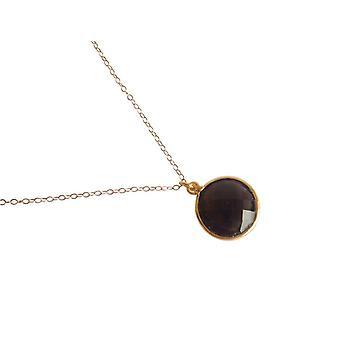 Gemshine - damer - kjede - 925 sølv - gull belagt - Røykkvarts - Brown - CANDY - 45 cm