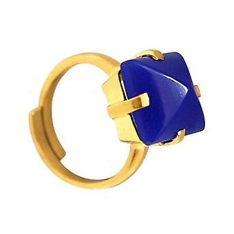 Mujer - anillo - plata 925 plateado - calcedonia - azul - 12 mm - Talla ajustable