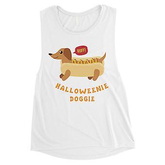 Halloweenie Doggie Womens White Muscle Shirt