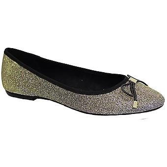 FLE010 Cheers Evening Pumps Glitter Sparkle Stud Bow Accent Slip On Flat Shoes