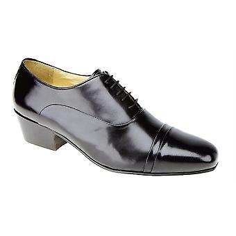 Mens Leather Lace Up Cuban Heel Leather Sole Formal Dress Oxford Shoes