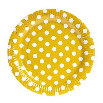 TRIXES 10PC Pack Yellow Polka Dot Party Pappteller