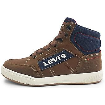 Levis Boys Madison Hi Zip Boots Tan Navy