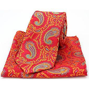 David Van Hagen Edwardian Paisley Krawatte und Einstecktuch Set - rot/Orange