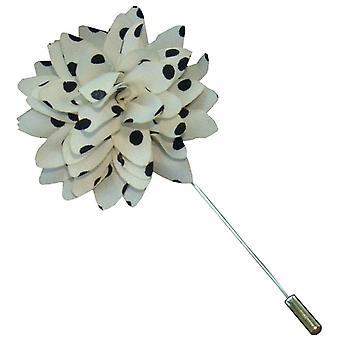 Bassin und Brown Spotted Flower Jacke Anstecknadel - weiß