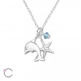 Piger sterling sølv dolphin halskæde med en krystal fra Swarovski