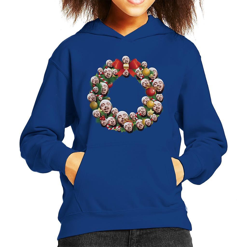 Christmas Wreath Multi Post Malone Kid's Hooded Sweatshirt