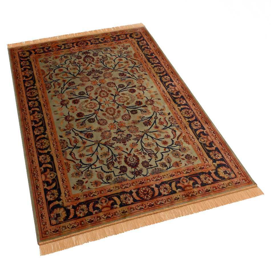 Green Afghan Ziegler Artsilk Faux Silk Effect Rugs 5663/16 140 x 200cm
