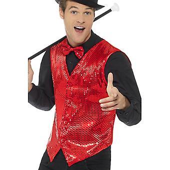 Sequin Waistcoat, Red