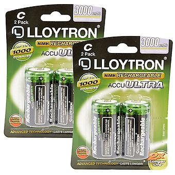 4 x Lloytron Rechargeable AccuUltra C Ni-MH Batteries 3000mAh