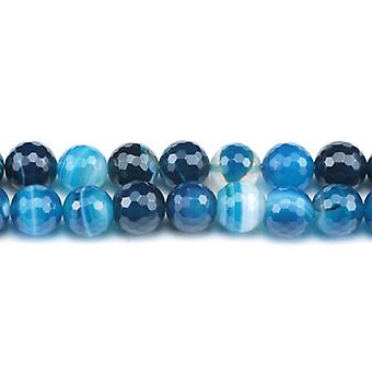 Strand 45+ Blue Banded Agate 8mm Faceted Round Beads GS0264-2