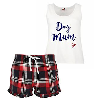 Dog Mum Ladies Tartan Frill Short Pyjama Set Red Blue or Green Blue