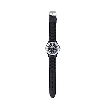 Lovemystyle Black Watch With Diamante Detail