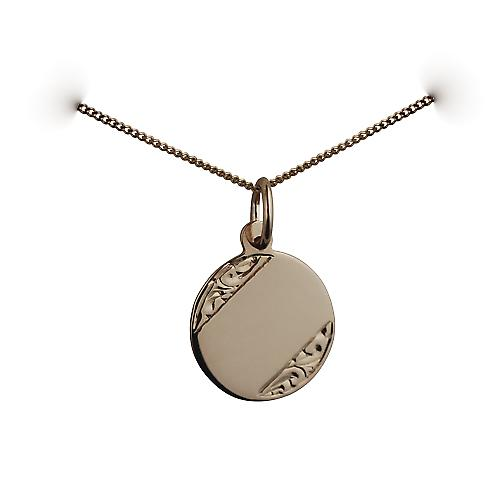 9ct Gold 13mm hand engraved round Disc with a curb chain