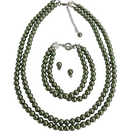 Inexpensive Wedding Jewelry In Pistachu Green Pearls Complete Set