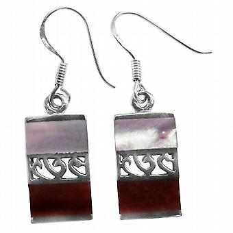 Fascinating Sterling Silver Earrings Mother Of Pearl & Coral Stone Inlay New Combo Sterling Silver 92.5 Stamped