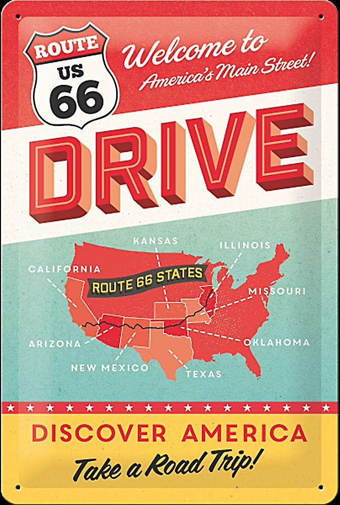 Route 66 Drive embossed steel sign   (na 3020)