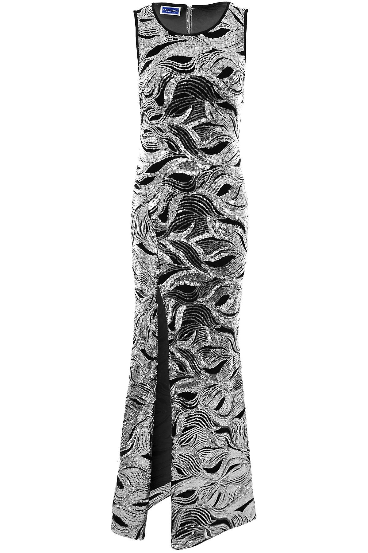 Ladies Lined Sleeveless Floral Sequin Bodycon Side Split Sexy Evening Maxi Dress