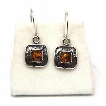 The Olivia Collection Sterling Silver Square Shaped Amber Drop Earrings