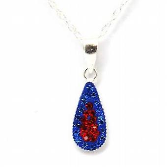 Toc Sterling Silver Tear Drop Pendant with Crystals on 18 Inch Chain
