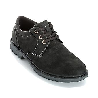 Mens Rockport Tough Bucks Oxford Shoe In Black- Lace Fastening- Padded Collar