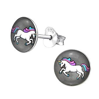 Children's Round Unicorn Stud Earrings