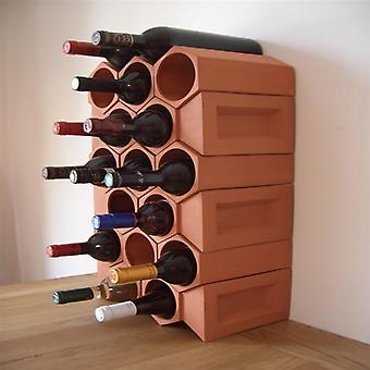 Terracotta Wine Rack for 17 Bottles with Key Stones