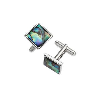 Eternal Collection Square Paua Shell Silver Tone Cufflinks