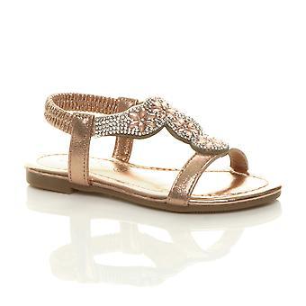 Ajvani Girls flat diamante flower t-bar stretch slingback sandals