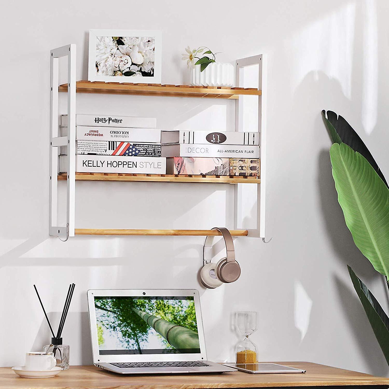 Bamboe wandrek met 2 planken en draagstang - wit/ naturel