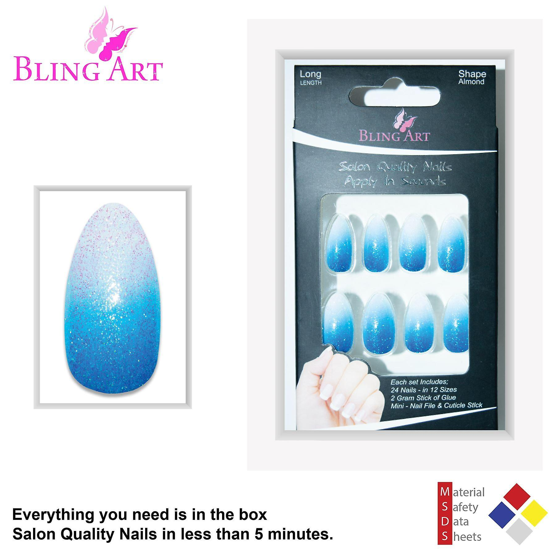 False nails by bling art blue gel ombre almond stiletto fake long tips
