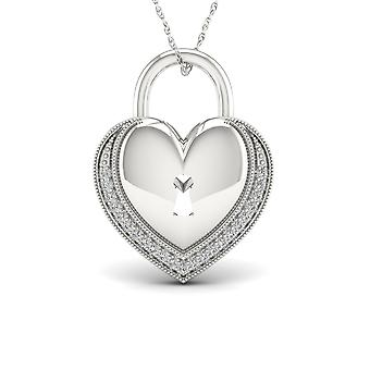 IGI Certified S925 Sterling Silver 0.08ct TDW Diamond Heart Shaped Lock Necklace