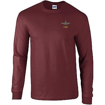 Parachute Regiment P bedrijf-gelicentieerd Britse leger geborduurd lange mouwen T-shirt