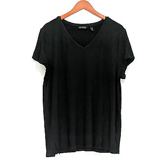 H door Halston Soft Knit V-hals korte mouw top zwart A306231