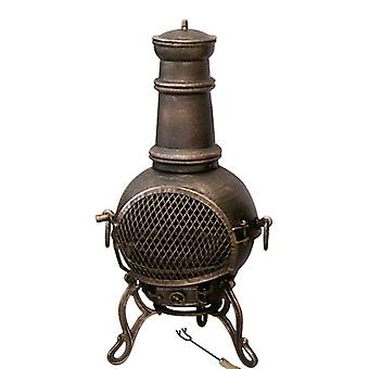Toledo Cast Iron Chiminea  with Grill - by Gardeco - Medium