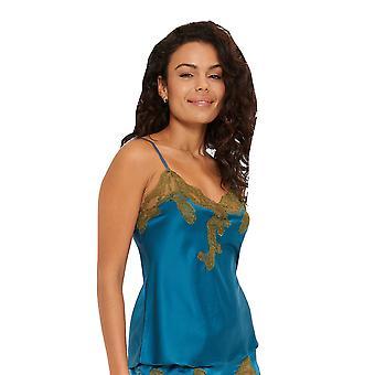 LingaDore 4222P-217 Women's Forest Petrol Blue Floral Spaghetti Vest Top