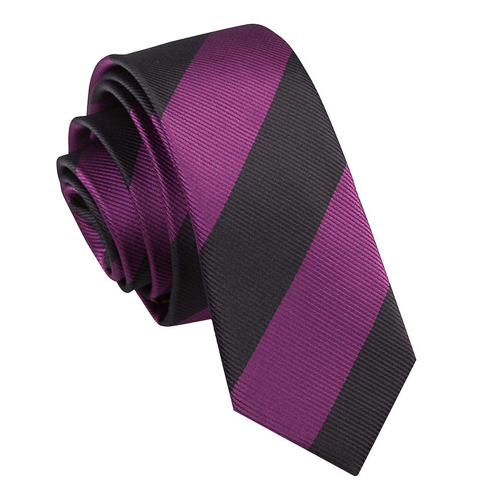 Purple & Black Striped Skinny Tie