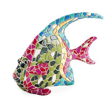 Brightly Coloured Mosaic Fish Garden or Home Ornament with Blue Fin