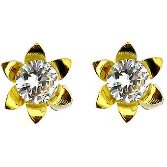Clip On örhängen Store Starburst guld & kristallblomman klippet på örhängen