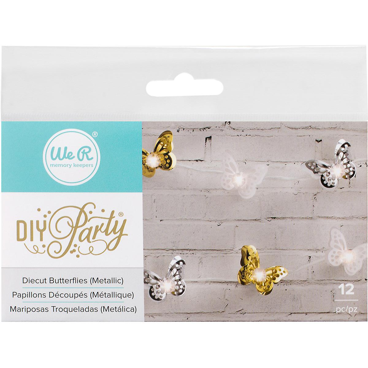 DIY Party Light Covers 12/Pkg-Butterfly Layers; Gold, Silver & White 662860