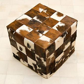 Rugs -Patchwork Leather Pouf - Normandy Cow