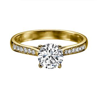 1.42 Carat E SI1 Diamond Engagement Ring 14K Yellow Gold Solitaire w Accents Channel Set Round