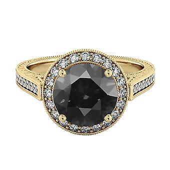 2.60 CTW 14k Yellow Gold Black Diamond anello con diamanti Halo filigrana con accenti