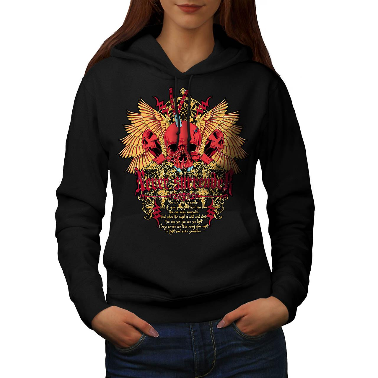 Skull Never Surrender Women Black Hoodie | Wellcoda