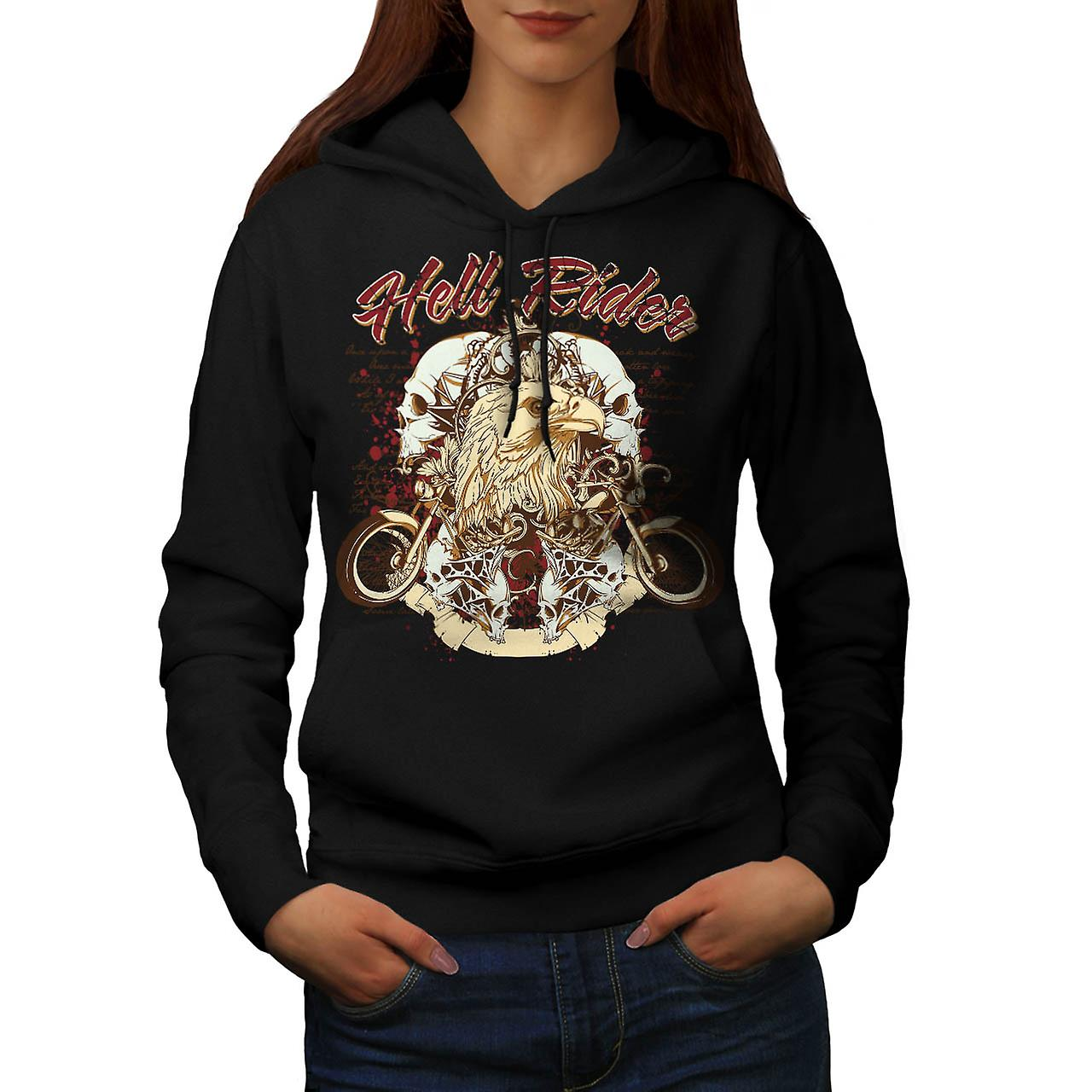 Hell Rider Biker Life Eagle Bike Women Black Hoodie | Wellcoda