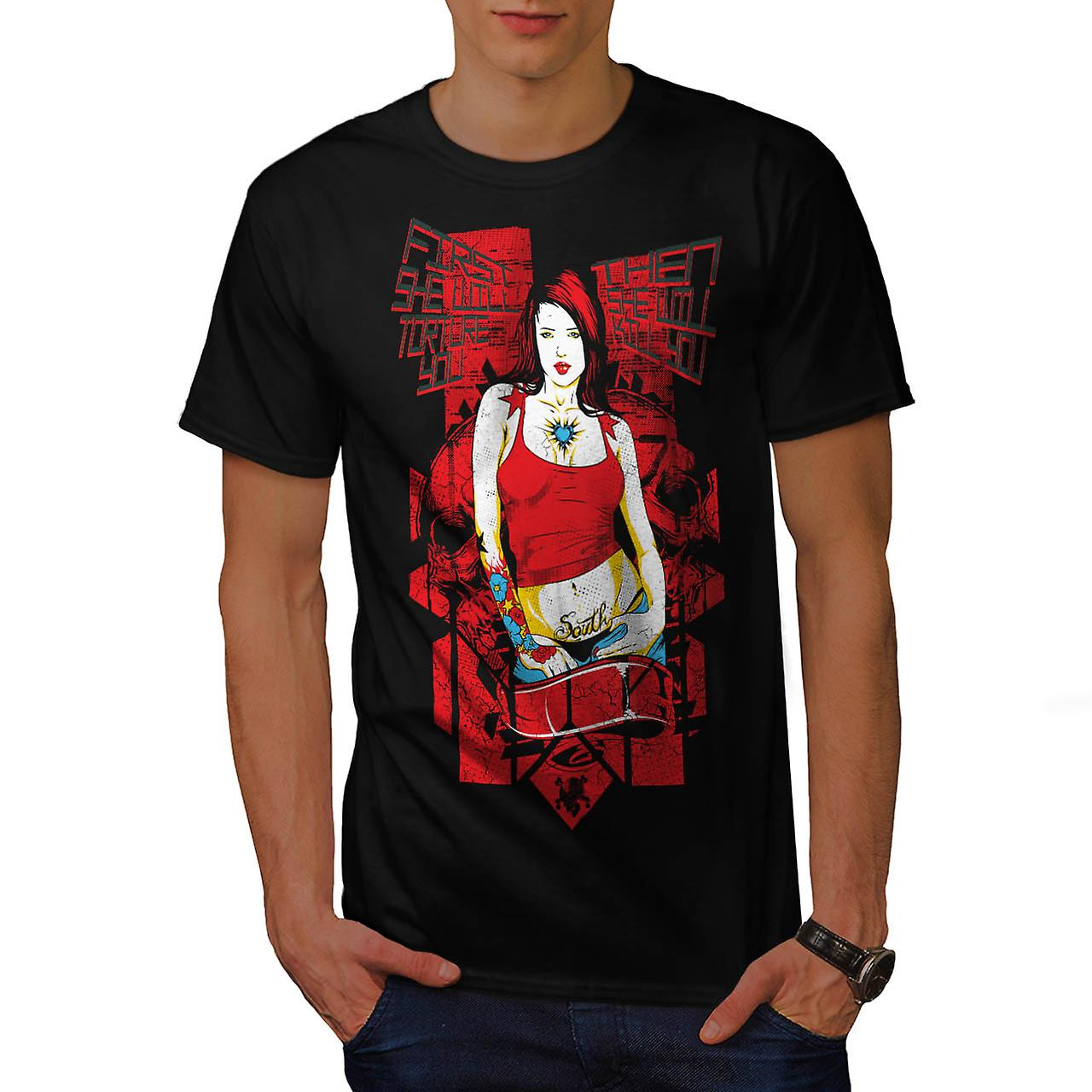 Torture Killer Girl Murder Chick Men Black T-shirt | Wellcoda