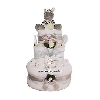 Unisex Baby Nappy Cake gift with zebra (three tier)