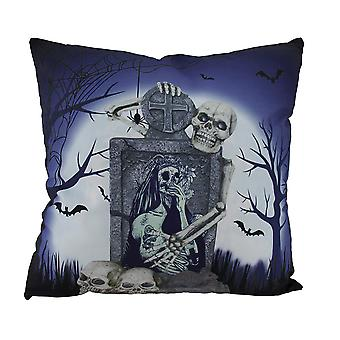 Creepy Skeleton At Day of Dead Calavera Woman's Grave Decorative Throw Pillow